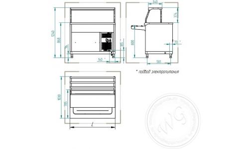 Прилавок холодильный ABAT АСТА ПВВ(Н)-70КМ-НШ