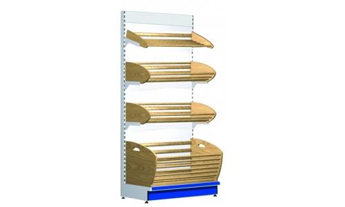 Стеллаж СК/100 , Н-2250 для хлеба с деревянными полками без фриза*