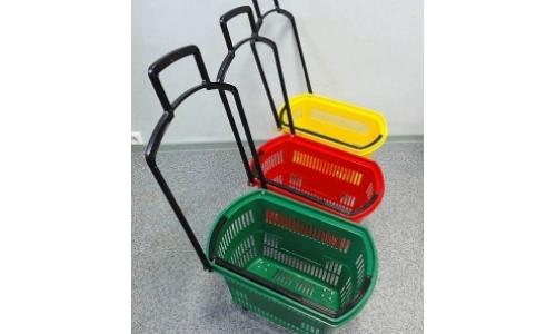 Корзинка покупательская пластиковая на 4-х колесах TRFB-002 (30л)