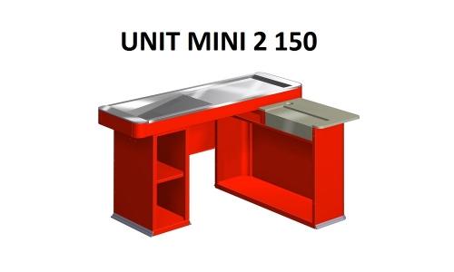 Кассовый бокс UNIT MINI 2 150 Красный Шлифованный Универсальный Без транспортера Вырез под денежный ящик (RAL 3000, 1500*1045*860 мм) б/у